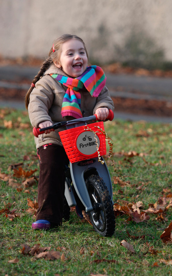 The FirstBike Balance Bike helps to build confidence in young riders